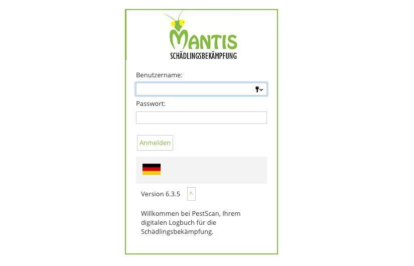 Mantis Schädlingsbekämpfung Kundenportal
